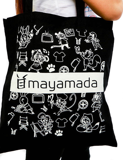 Characters Tote Bag Black Design - mayamada